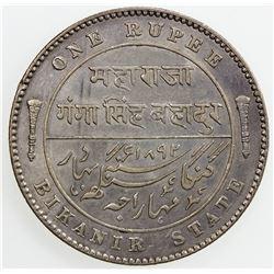 BIKANIR: Ganga Singh, 1887-1942, AR rupee, 1892