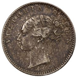 BRITISH INDIA: Victoria, as Queen, 1837-1876, AR 1/2 rupee, 1840 (b). VF