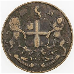 BRITISH INDIA: Victoria, as Queen, 1837-1876, AE 1/4 anna, Soho, 1857(h). F-VF