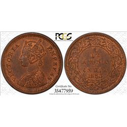 BRITISH INDIA: Victoria, Empress, 1876-1901, AE 1/12 anna, 1883(b). PCGS MS63