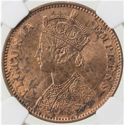 BRITISH INDIA: Victoria, Empress, 1876-1901, AE 1/4 anna, 1880(c). NGC MS62