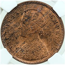 BRITISH INDIA: Victoria, Empress, 1876-1901, AE 1/4 anna, 1889(c). NGC MS63