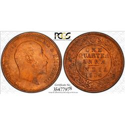 BRITISH INDIA: Edward VII, 1901-1910, AE 1/4 anna, 1904(c). PCGS MS65