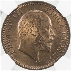BRITISH INDIA: Edward VII, 1901-1910, AE 1/4 anna, 1908(c). NGC MS63
