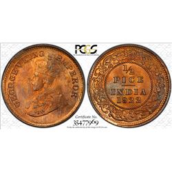 BRITISH INDIA: George V, 1910-1936, AE 1/2 pice, 1922(c). PCGS MS65