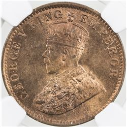 BRITISH INDIA: George V, 1910-1936, AE 1/4 anna, 1913(c). NGC MS64