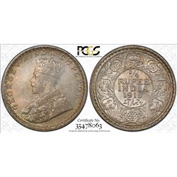BRITISH INDIA: George V, 1910-1936, AR 1/4 rupee, 1918(c). PCGS MS66