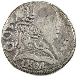 GOA: Joao, regency, 1799-1816, AR rupia (10.78g), 1804. VF