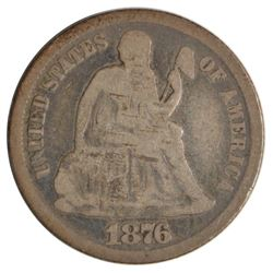 1876-CC Seated Liberty Dime Coin