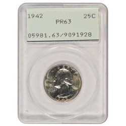 1942 Washington Quarter PCGS PR63