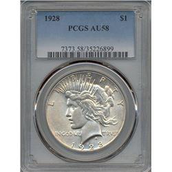 1928 $1 Peace Silver Dollar Coin PCGS AU58