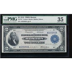 1918 $2 Boston Federal Reserve Bank Note PMG 35