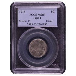 1913 Buffalo Nickel Type 1 PCGS MS65