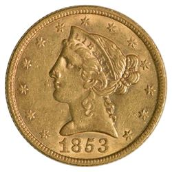 1853 $5 Half Eagle Liberty Head Gold Coin