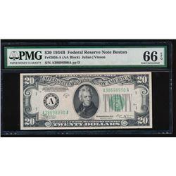 1934B $20 Boston Federal Reserve Note PMG 66EPQ
