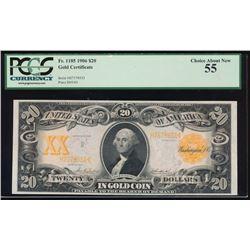 1906 $20 Gold Certificate PCGS 55