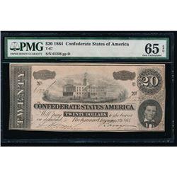 1864 $20 Confederate States of America Note PCGS 65EPQ