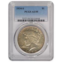 1934-S $1 Peace Silver Dollar Coin PCGS AU55