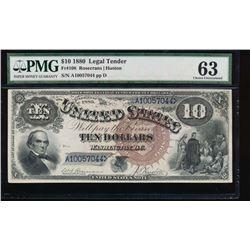 1880 $10 Jackass Legal Tender Note PMG 63