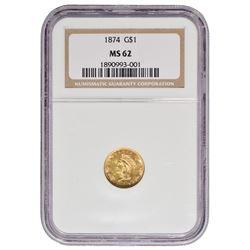 1874 $1 Princess Gold Coin NGC MS62