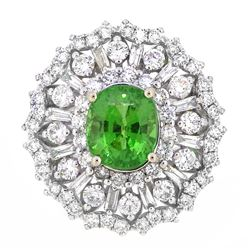 18KT White Gold 3.50ct GIA Cert Tsavorite and Diamond Ring