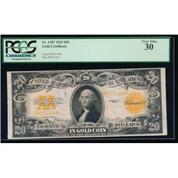 1922 $20 Gold Certificate PCGS 30