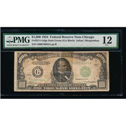 1934 $1000 Chicago Federal Reserve Note PMG 12