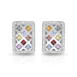 14KT White Gold 2.88ctw Multi Color Sapphire and Diamond Earrings
