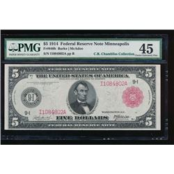 1914 $5 Minneapolis Red Seal Federal Reserve Note PMG 45