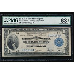 1918 $1 Philadelphia Federal Reserve Bank Note PMG 63EPQ