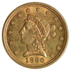 1896 $2.5 Quarter Eagle Liberty Head Gold Coin
