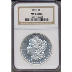 1885 $1 Morgan Silver Dollar Coin NGC MS64DPL