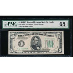 1934D $5 St Louis Federal Reserve Note PMG 65EPQ