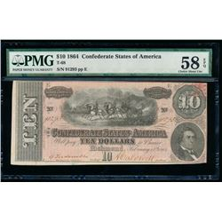 1864 $10 Confederate States of America Note PMG 58EPQ