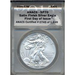 2015-W $1 American Silver Eagle Coin ANACS SP70