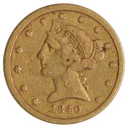 1840 $5 Half Eagle Liberty Head Gold Coin