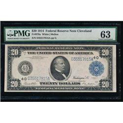 1914 $20 Cleveland Federal Reserve Note PMG 63
