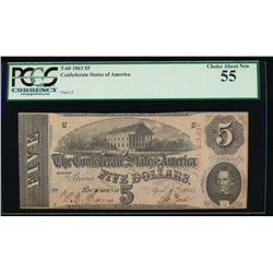 1863 $5 Confederate States of America Note PCGS 55