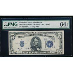 1934D $5 Silver Certificate Star Note PMG 64PPQ