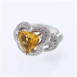 14KT White Gold 2.66ct Citrine and Diamond Ring