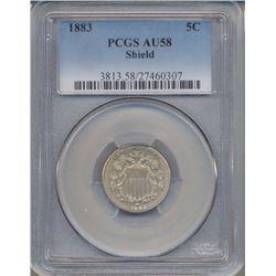 1883 Five Cent Shield Coin PCGS AU58