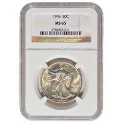 1946 Walking Liberty Half Dollar Coin NGC MS65