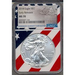 2018 $1 American Silver Eagle Coin NGC MS70
