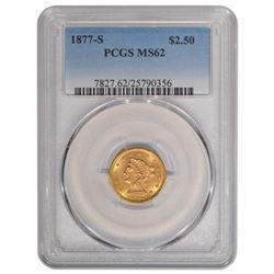 1877-S $2.5 Liberty Head Quarter Eagle Gold Coin PCGS MS62