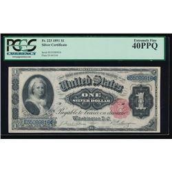 1891 $1 Martha Washington Silver Certificate PCGS 40PPQ