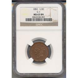 1851 Liberty Half Cent Coin NGC MS63BN
