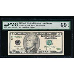 2003 $10 Boston Federal Reserve Star Note PMG 69EPQ