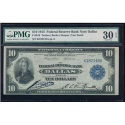 1915 $10 Dallas Federal Reserve Bank Note PMG 30EPQ