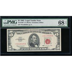 1963 $5 Legal Tender Star Note PMG 68EPQ