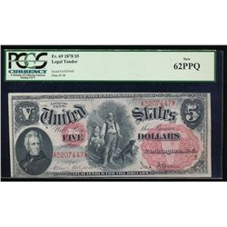 1878 $5 Legal Tender Note PCGS 62PPQ